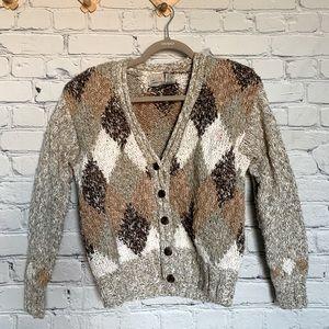 80s Vtg Liz Claiborne cardigan sweater browns PS